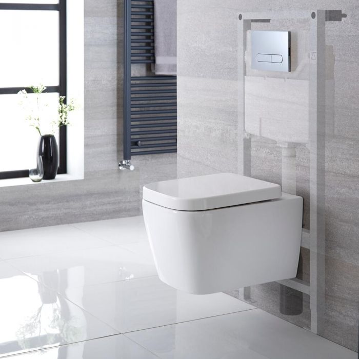 Toilet Hangend Keramisch Vierkant Wit met Stortbak en Hoog Muurframe   Keuze Spoelknop   Milton