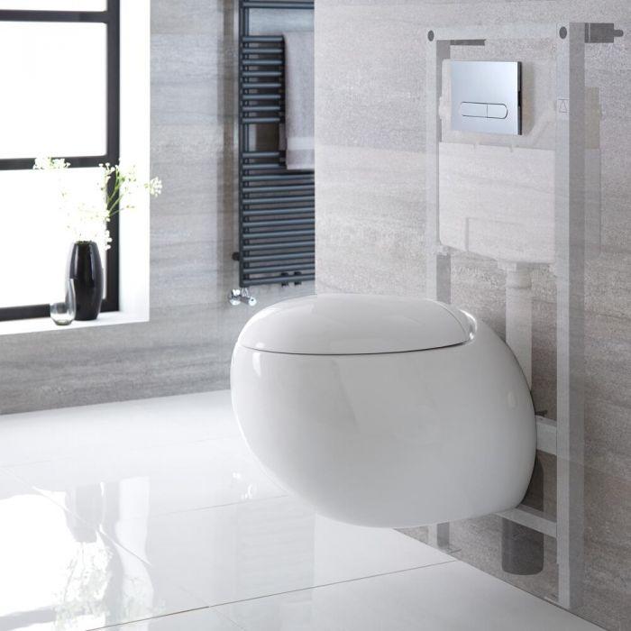 Toilet Hangend Keramisch Wit met Stortbak en Hoog Muurframe   Keuze Spoelknop   Langtree
