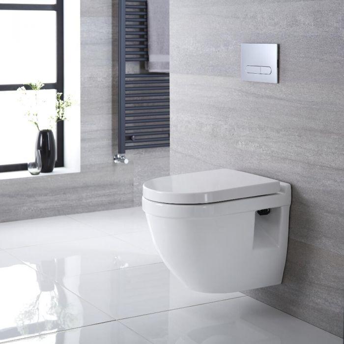 Hangend Toilet Ovaal incl Inbouwreservoir (Large) en Keuze Spoelknop | Belstone