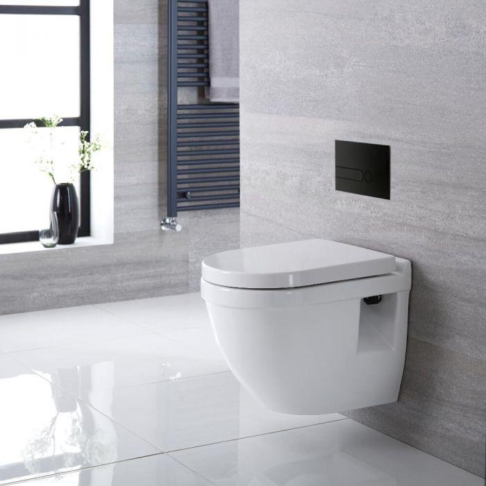 Toilet Hangend Keramisch Wit met Stortbak en Kort Muurframe   Keuze Spoelknop   Belstone