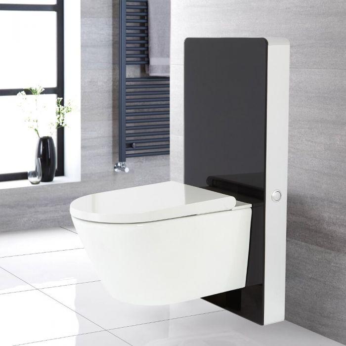 Japans Toilet | Hirayu Stortbak Ombouw Touch-free Bedieningspaneel Hangend Zwart 50cm | Saru