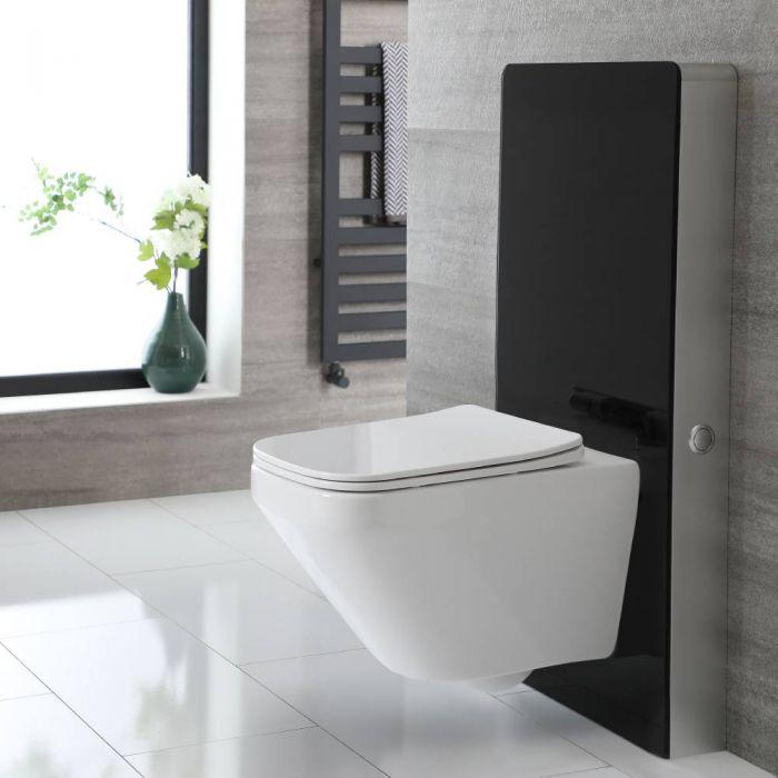 Toilet Hangend Randloos met Stortbak en Ombouw Zwart | Saru