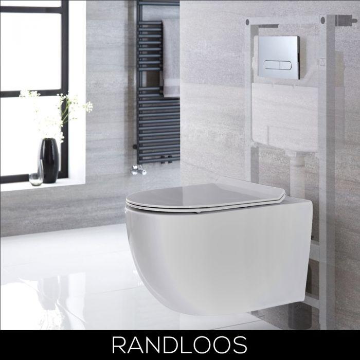 Hangend Toilet Randloos Wit met Hoog Muurframe   Keuze van Spoelknop   Otterton