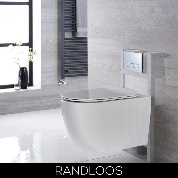 Hangend Toilet Randloos Wit met Kort Muurframe   Keuze van Spoelknop   Otterton