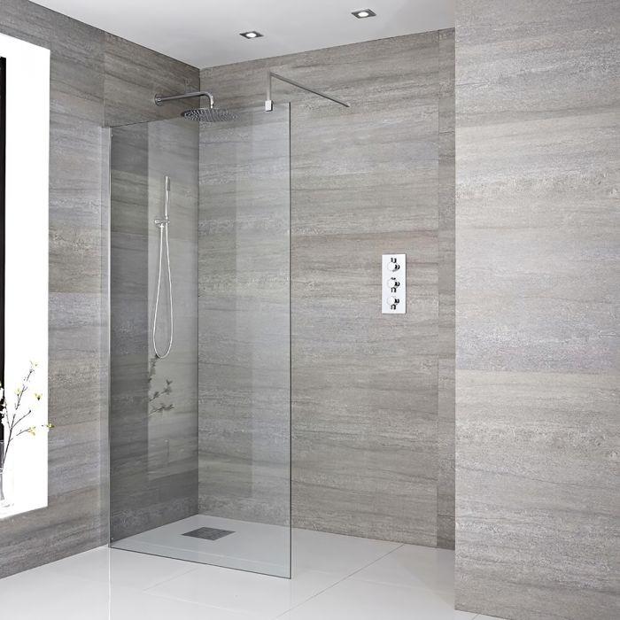Inloopdouche 1 Vaste Wand 185cm Gepolijst Aluminium | Kies uw Afmeting | Portland