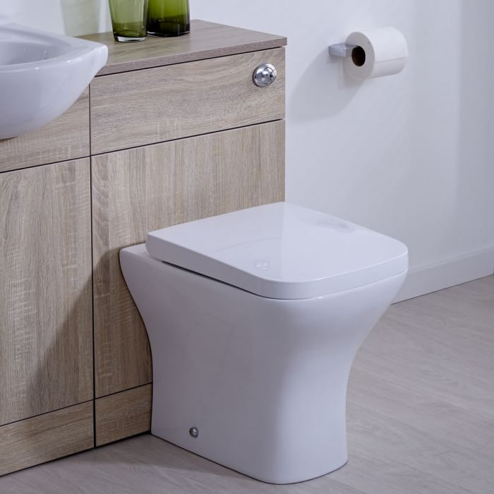 Staand Toilet en Stortbak Ombouw met Dubbele Spoelknop | Classic Oak