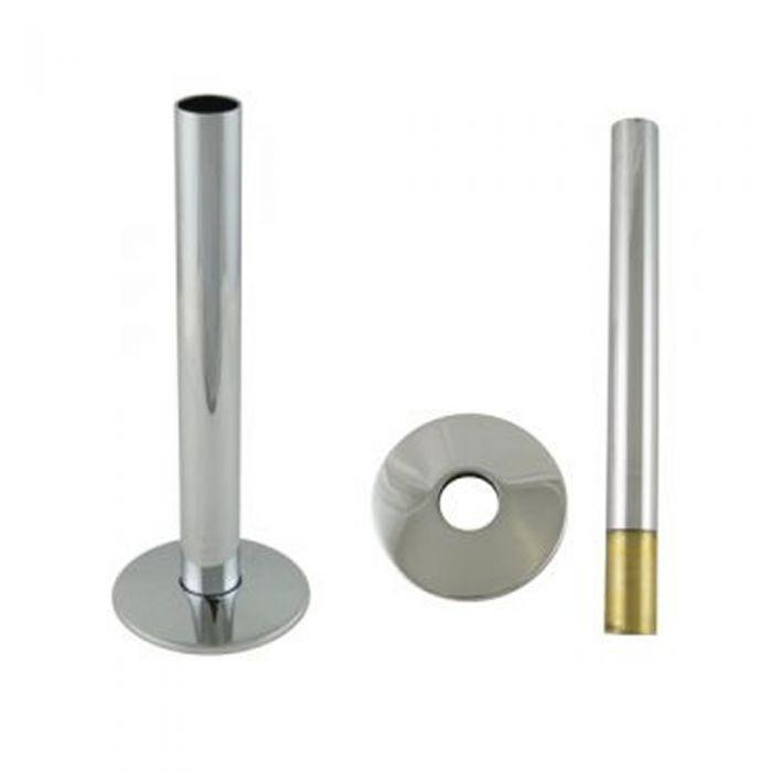 d.15mm Verwarmingsbuis 13,5cm &  2 x Rozetten Verchroomd Messing
