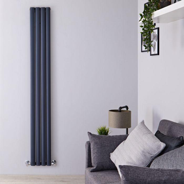 Revive Air Verticale Aluminium Dubbelpaneel Designradiator Antraciet 180cm x 23cm x 7,6cm 1002Watt