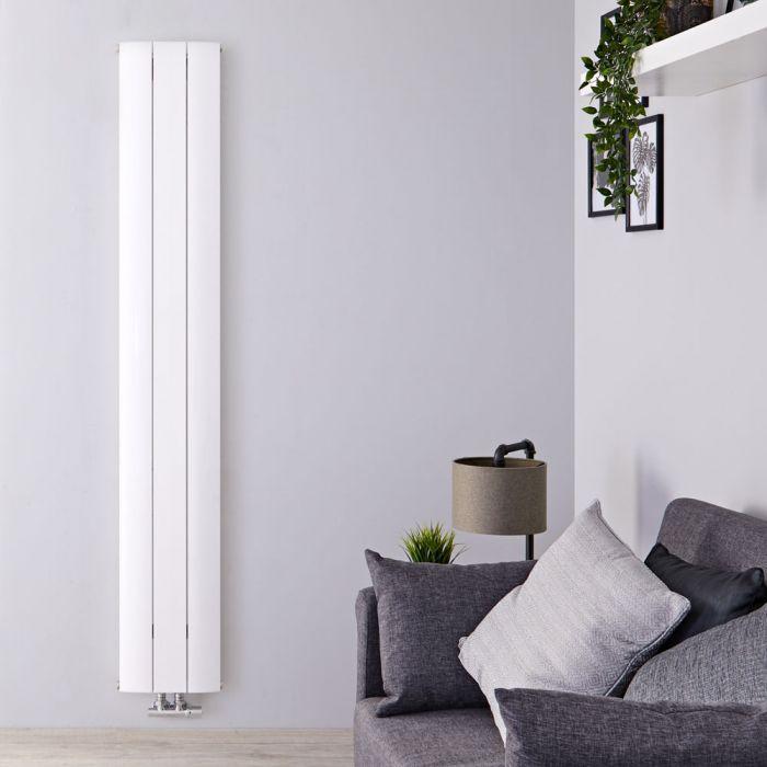 Designradiator Verticaal Aluminium Middenaansluiting Wit 180cm x 28cm 1152 Watt   Aurora