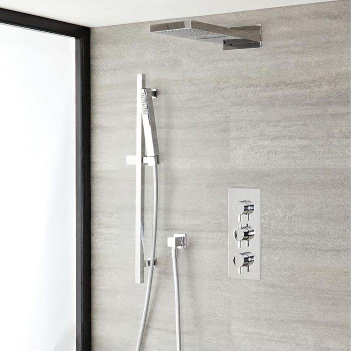 'l Ecko 3-weg thermostatisch doucheset met omstelkraan met waterval/regen douchekop