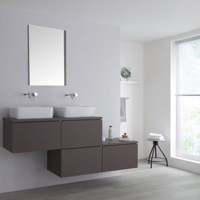 Wastafelmeubel + 2 x Opzetwastafels & Versprongen Onderkast Hangend Grijs 180cm – incl/excl. LED - Newington