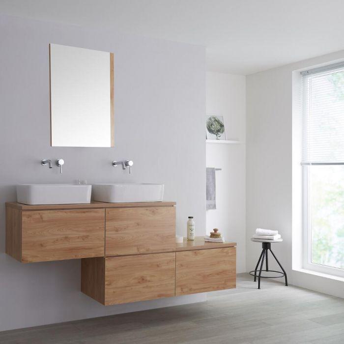 Wastafelmeubel + 2 x Opzetwastafel & Versprongen Onderkast Hangend Eiken 180cm – incl/excl. LED - Newington
