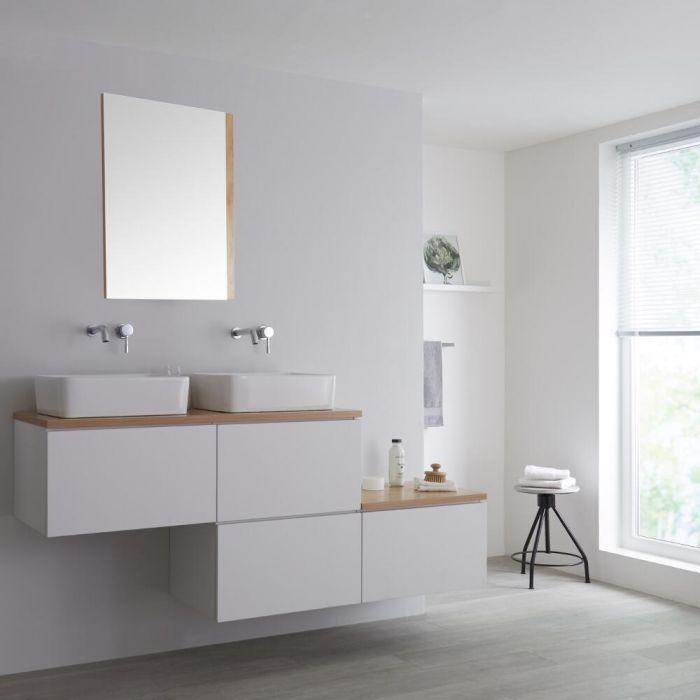 Wastafelmeubel + 2 x Opzetwastafel + Versprongen Onderkast Hangend Wit & Eiken 180cm – incl/excl. LED -Newington