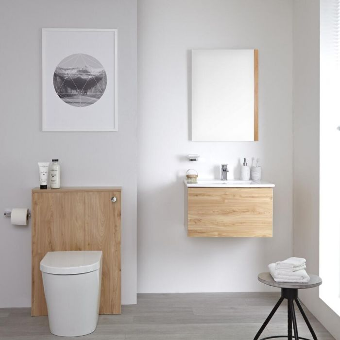 Staand Keramisch Toilet + Stortbak Ombouw + Stortbak 3/6L Goud Eiken - Newington