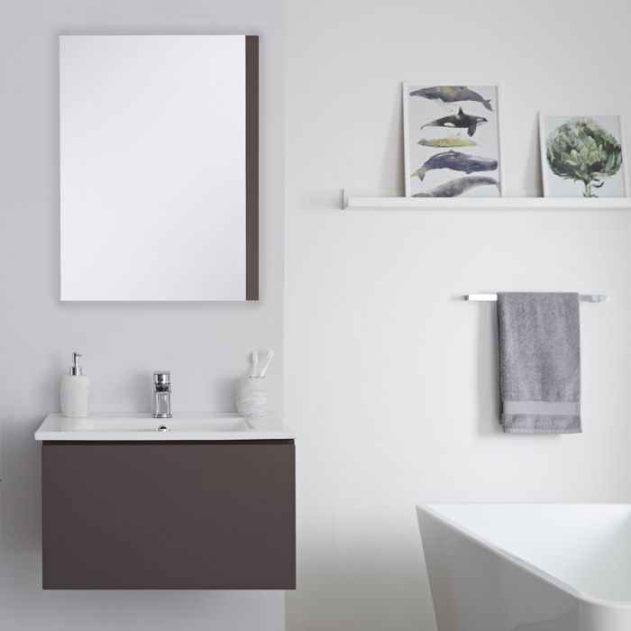 Wastafelmeubel + Enkele Wastafel Hangend Mat Grijs 60cm – incl/excl. LED - Newington