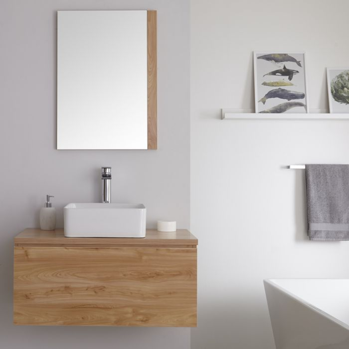 Wastafelmeubel + 1 x Opzetwastafel Hangend Goud Eiken 80cm – incl/excl. LED -Newington