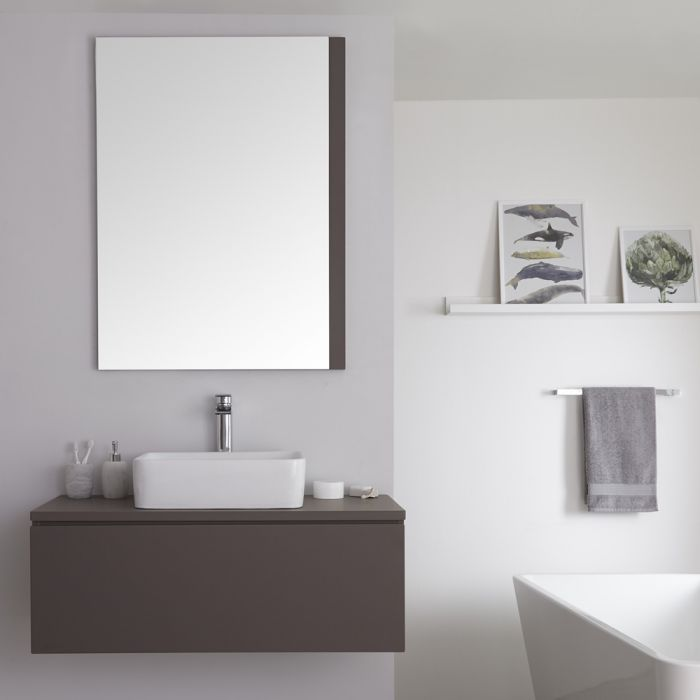 Wastafelmeubel + 1 x Opzetwastafel Hangend Mat Grijs 100cm  – incl/excl. LED -Newington