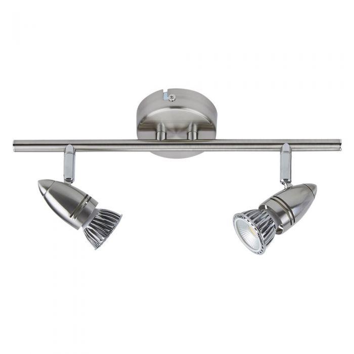 Biardsatijn Nikkel GU10 RVS Plafondspot Met 2 Spots