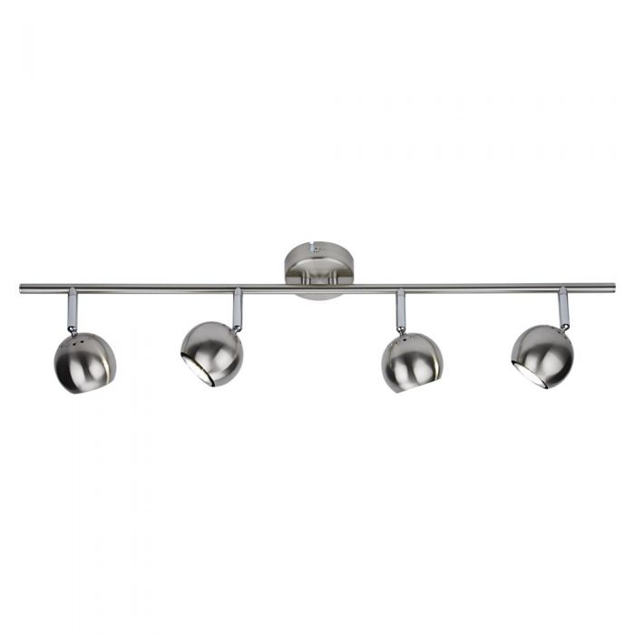 Satijn Nikkel RVS GU10 Plafondspot Met 4 Spots -