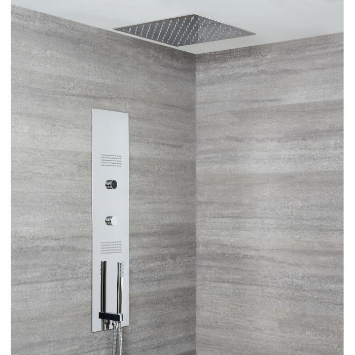 Narus 3-weg Thermostatisch Digitaal Inbouw Douchepaneel & Plafonddouchekop 40 x 40cm