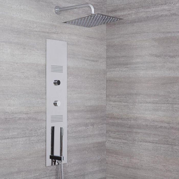 Narus 3-weg Thermostatisch Digitaal Inbouw Douchepaneel & Douchekop- & Arm 30 x30 cm