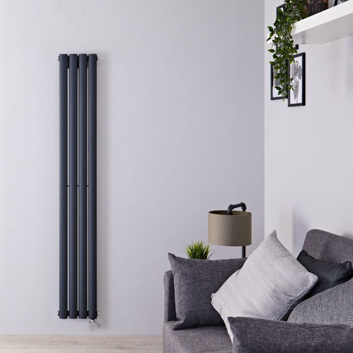 Designradiator Elektrisch met Thermostaat Verticaal Antraciet Staal 160 x 23,6cm   Revive