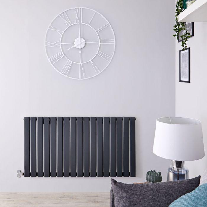 Designradiator Elektrisch met Thermostaat Horizontaal Antraciet 63,5cm x 119cm | Delta