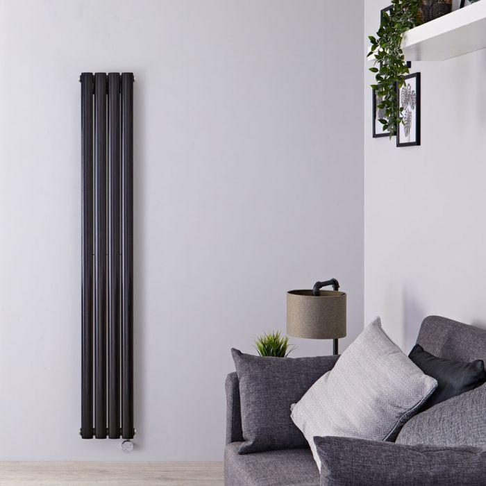 Designradiator Elektrisch Thermostatisch Verticaal  Dubbelpaneel Zwart 160cm x 23,6cm | Revive