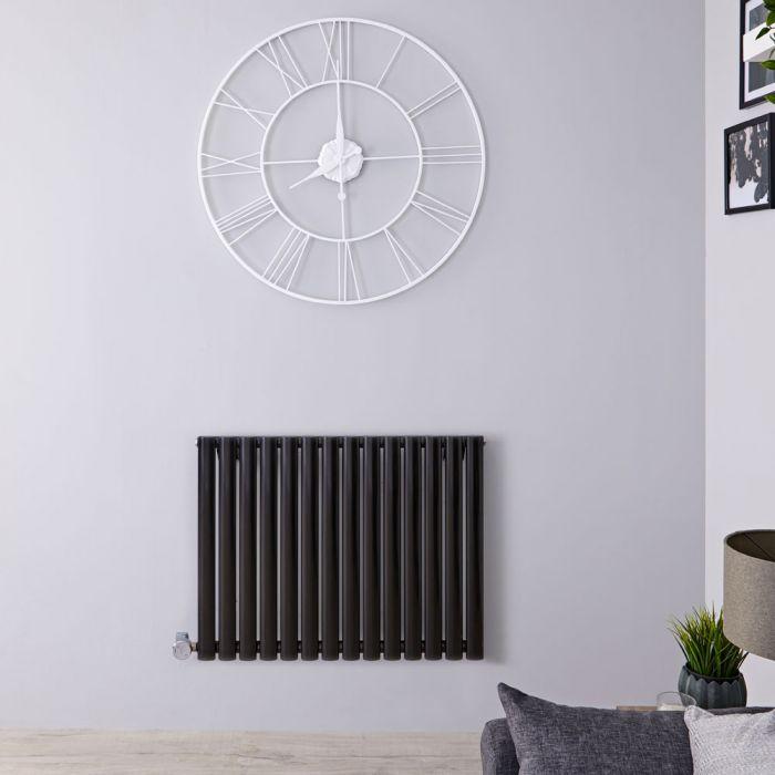 Designradiator Elektrisch met Thermostaat Horizontaal Zwart 63,5cm x 83,4cm | Revive