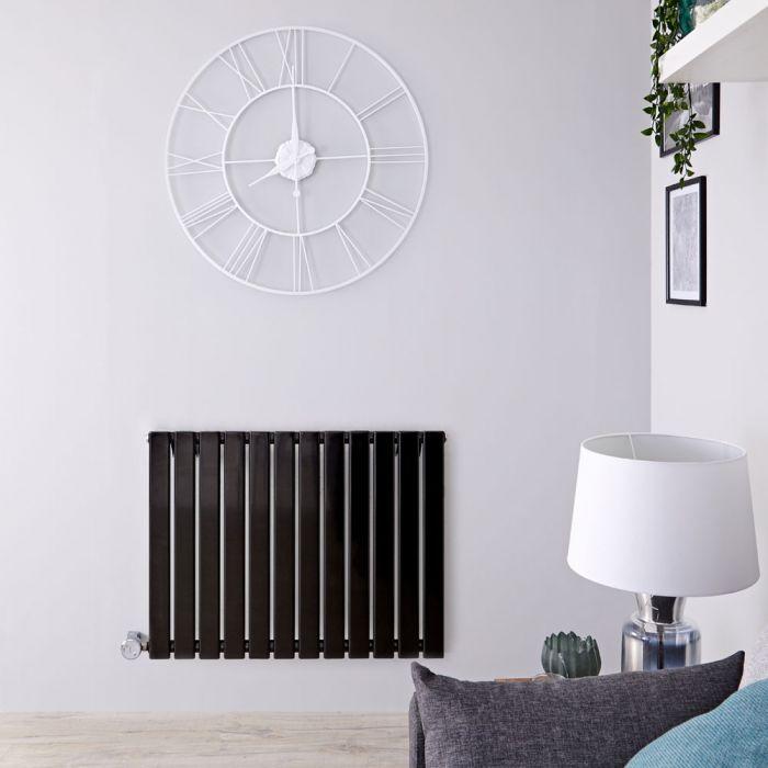 Designradiator Elektrisch met Thermostaat Horizontaal Zwart 63,5cm x 84cm | Delta