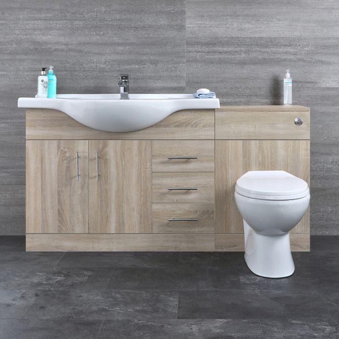 Badkamermeubelset Inclusief Keramisch Toilet Staand Eiken 144cm   Classic Oak