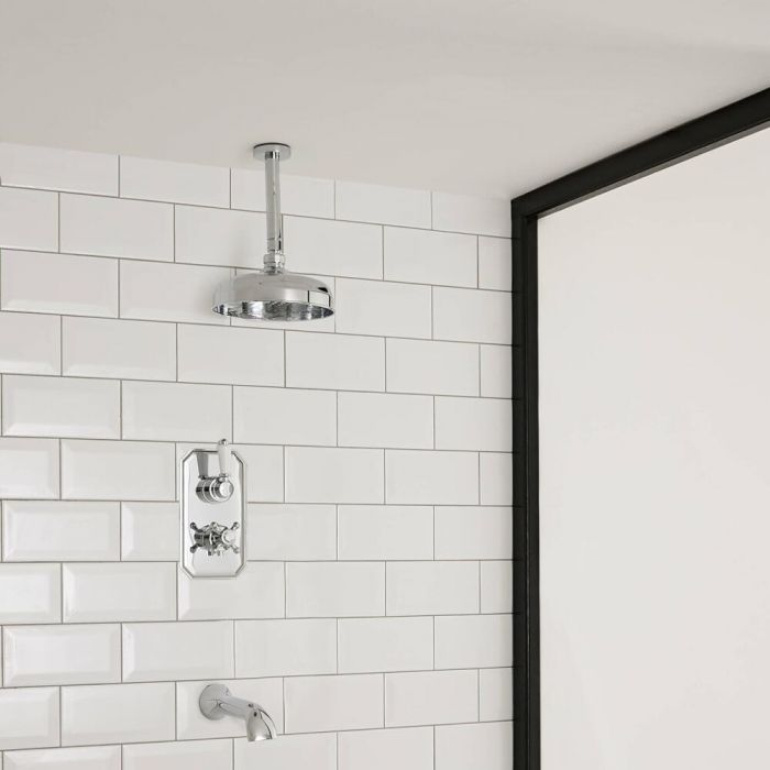 2-weg Inbouw Thermostaatkraan met Omstelkraan + Plafond Douchekop d.30cm  + Baduitloop - Klassiek