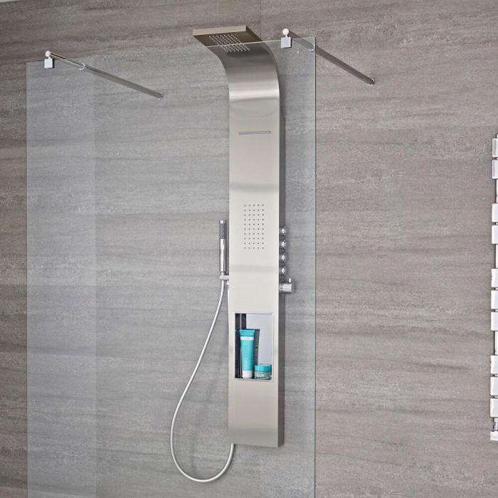 Vista Geborsteld Staal Thermostatisch Douchepaneel 4 x Drukknop & Geintegreerde  Schap Regendouchekop Water- & Zijdouche