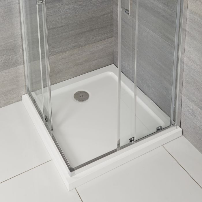 Vierkante Douchebak Wit Afgedekt met Acryl 80 x 80cm| Maxon