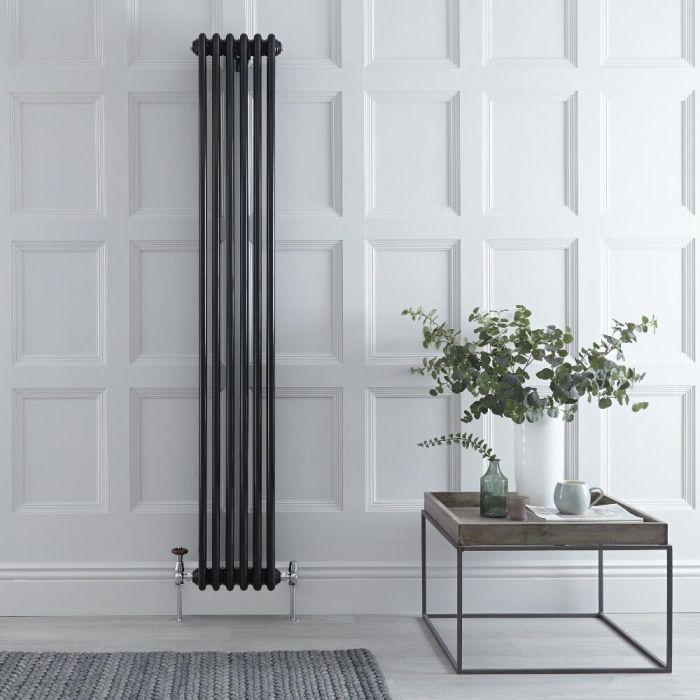 Designradiator Verticaal Klassiek Zwart 180cm x 29cm x 10cm 1169 Watt - Windsor