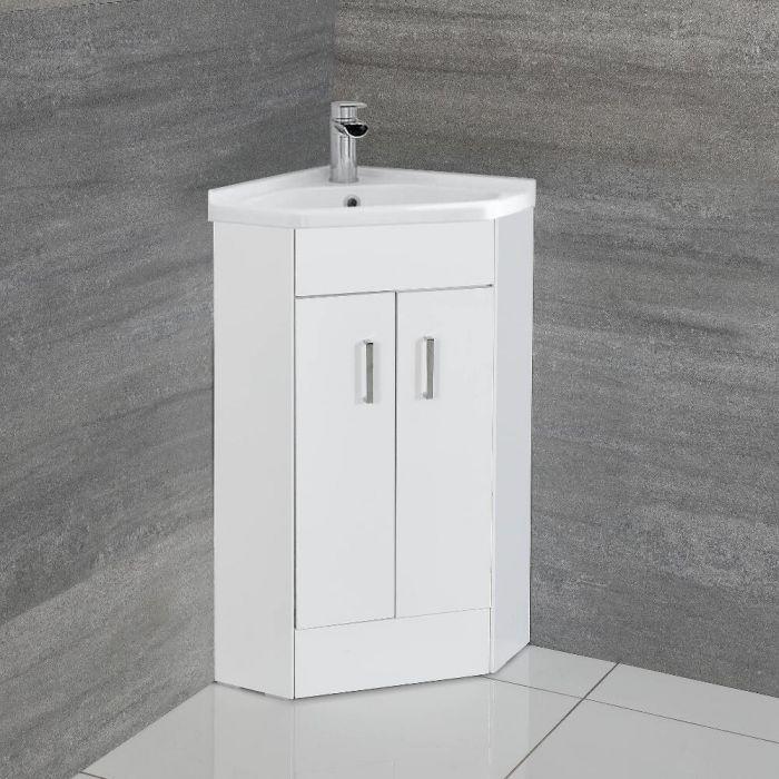 Hoekmodel Toiletmeubel - Keramische Wasbak - (H)80cm x (B)55,5cm x (D)39,5cm