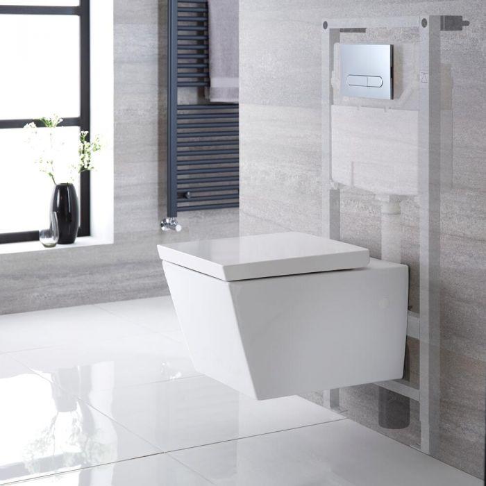 Halwell Hangend Keramiek Toilet Half Rond  incl Inbouwreservoir ( Large) en Keuze Spoelknop