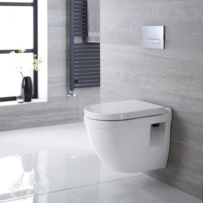 Belstone Hangend Keramiek Toilet Ovaal incl Inbouwreservoir (Small) en Keuze Spoelknop