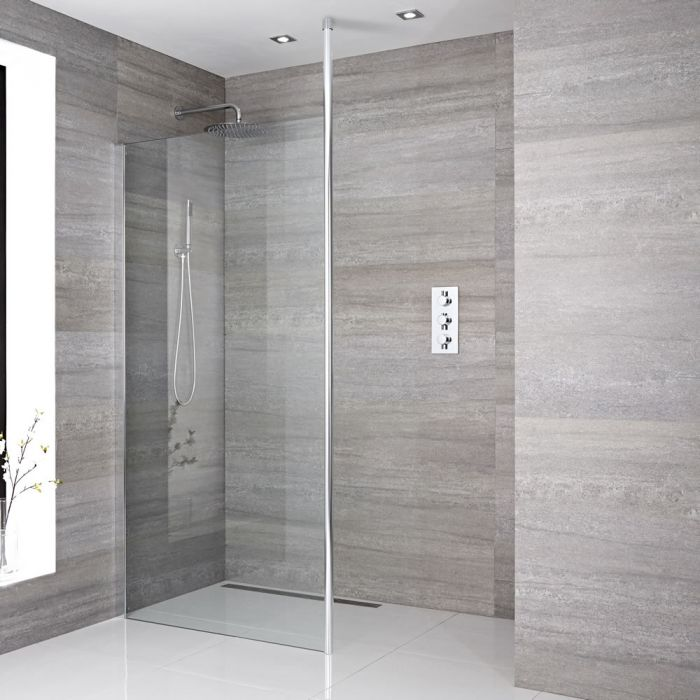 Inloopdouche 1 Vaste Wand met Paal Aluminium Chroom Profiel 195 x 100cm | Kies de Douchegoot | Sera