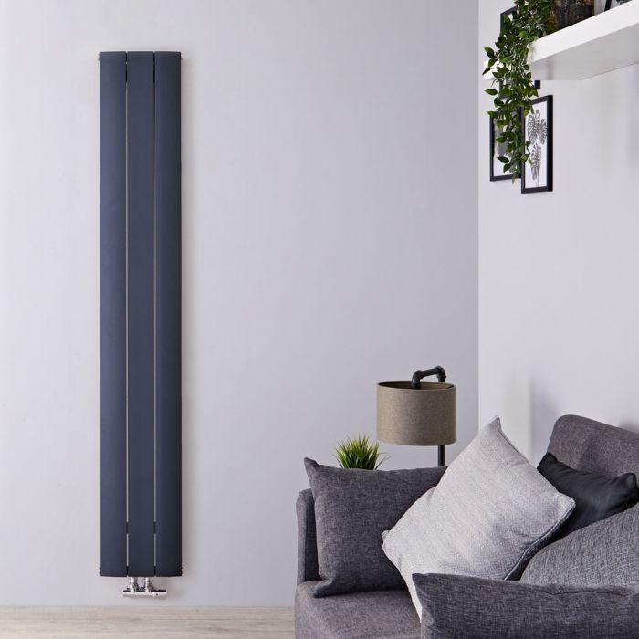 Designradiator Verticaal Aluminium Middenaansluiting Antraciet 160cm x 28cm 920 Watt   Aurora
