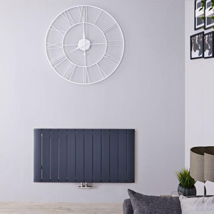 Designradiator Horizontaal Aluminium Middenaansluiting Antraciet 60cm x 113,5cm 1384 Watt   Aurora