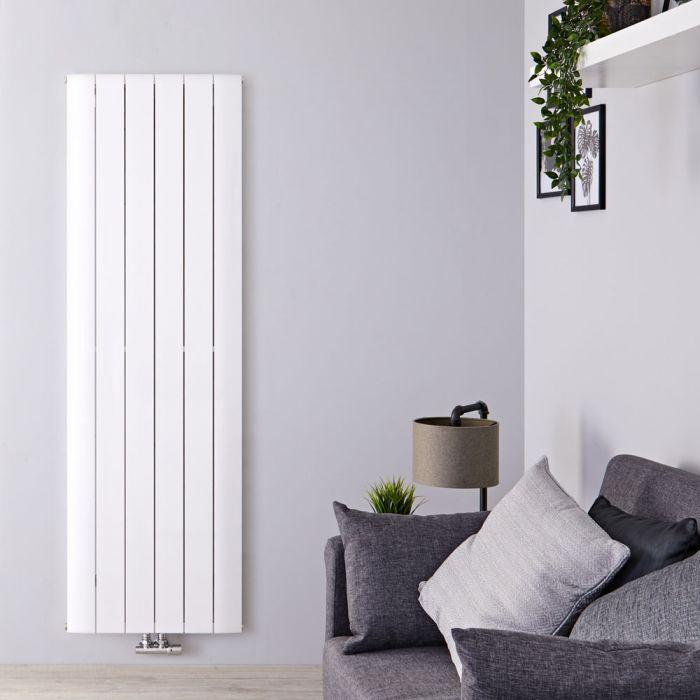 Designradiator Verticaal Aluminium Middenaansluiting Wit 180cm x 56,5cm 2303 Watt   Aurora