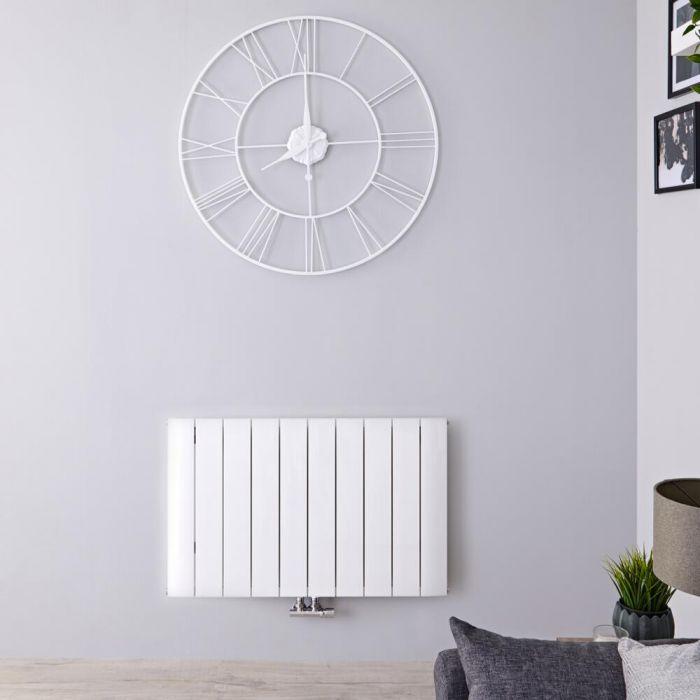 Designradiator Horizontaal Aluminium Middenaansluiting Wit 60cm x 94,5cm 1153 Watt | Aurora