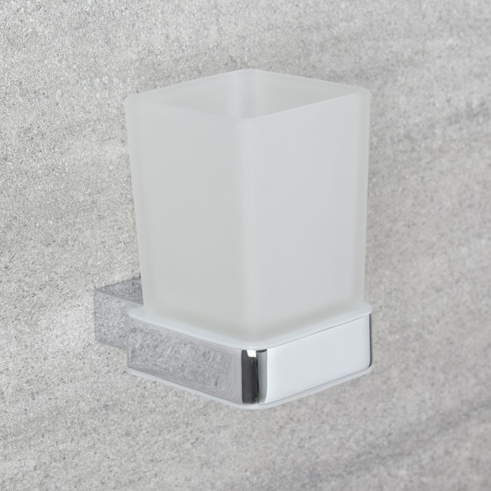 Glashouder met Glas - Mat & Chroom | Kubix
