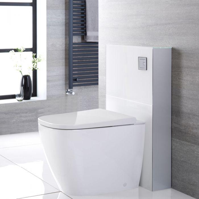 Japans Toilet   Hirayu Stortbak Ombouw Dubbele Spoelknop 3/6 Liter Staand Wit 50cm   Saru