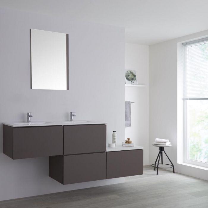 Dubbele Wastafel + Wastafelmeubel & Versprongen Onderkast Hangend Grijs 180cm – incl/excl. LED - Newington