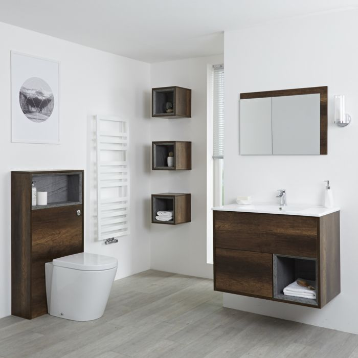 Badkamermeubel Set Hangend 80cm Donker Eiken Incl Wastafelmeubel + Toilet + Stortbak + Ombouw + Open Kast - Incl/excl LED - Hoxton
