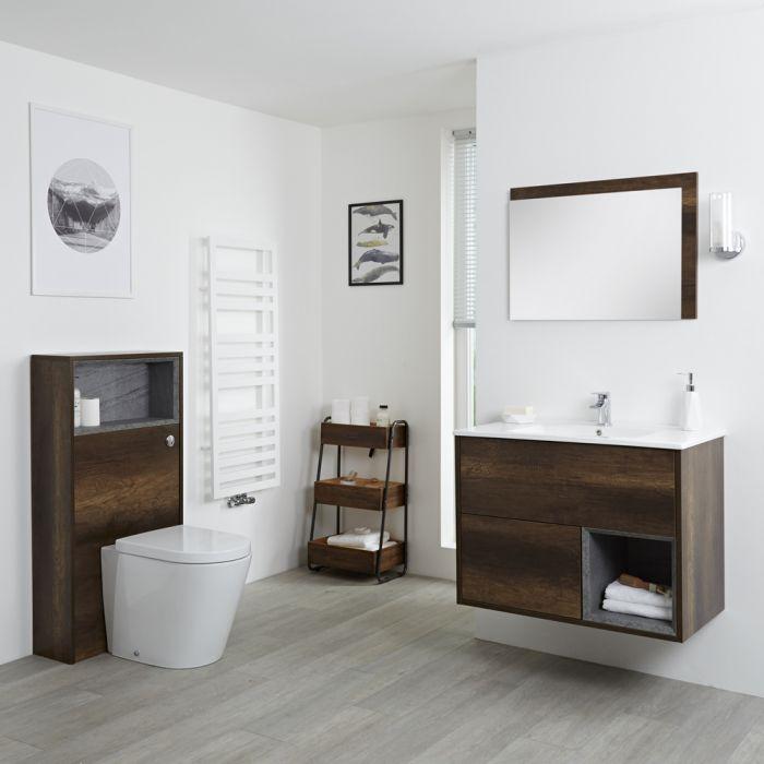 Badkamermeubel Set Hangend 80 cm Donker Eiken Incl Wastafelmeubel + Toilet + Stortbak + Ombouw - incl/excl. LED - Hoxton