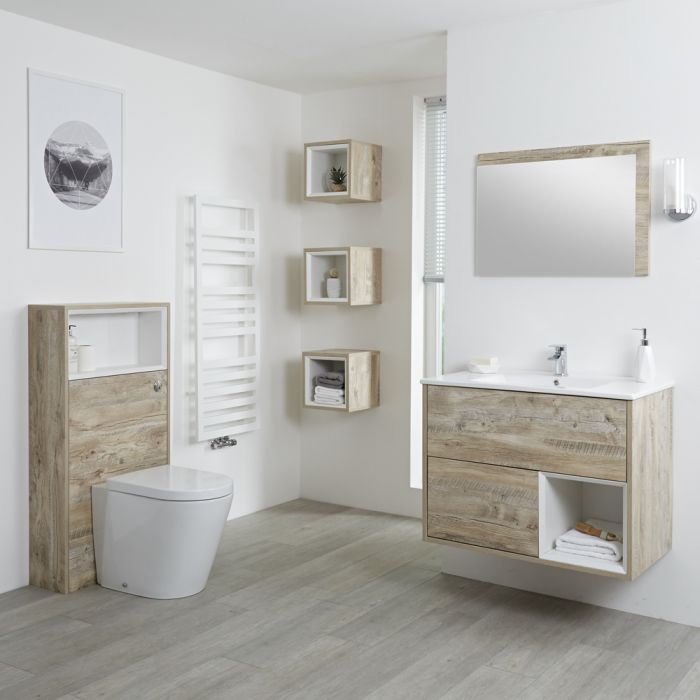 Badkamermeubel Set Hangend 80cm Licht Eiken Incl Wastafelmeubel + Toilet + Stortbak + Ombouw + Open Kast - Incl/excl LED - Hoxton