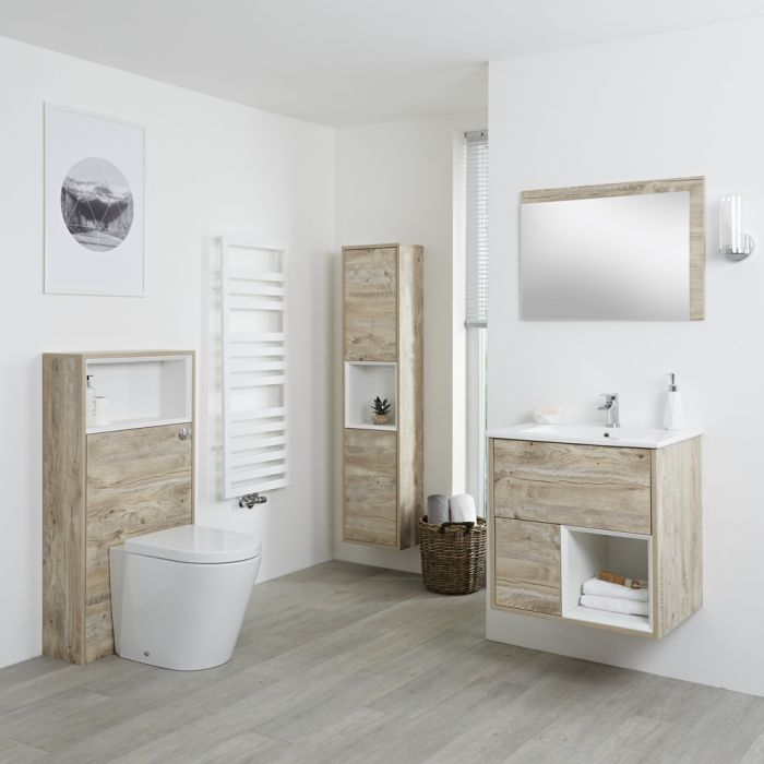 Badkamermeubel Set Hangend 60 cm Licht Eiken Incl Wastafelmeubel + Toilet + Stortbak + Ombouw + Kast + Spiegel - incl/excl. LED - Hoxton